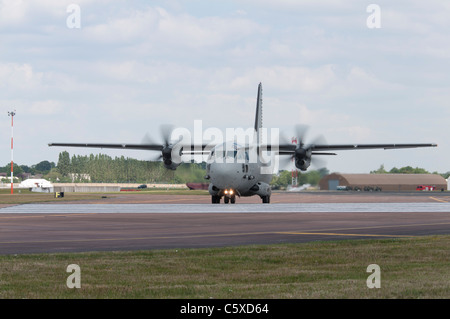 Alenia C-27J Spartan medium size military transport aeroplane arrives at RAF Fairford, England  for the 2011 RIAT - Stock Photo