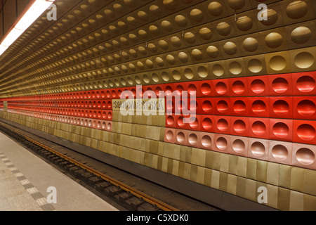Prague metro (underground) Staromestska station - Stock Photo