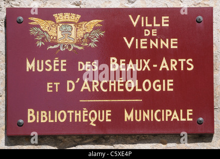 Sign on Art Museum or Musee des Beaux Arts et d Archeologie and Municpal Library or Bibliotheque Municipal Vienne - Stock Photo