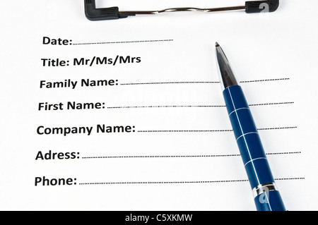 Identification form and a pen Stock Photo, Royalty Free Image ...