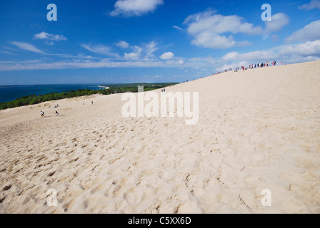 View from Dune of Pilat (aka Dune of Pyla) by Arcachon Bay, France, the biggest sand dune in Europe: 107 m high - Stock Photo