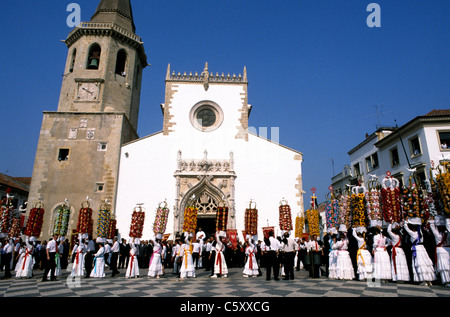 The Festa dos Tabuleiros, a festival that takes place every four years in and around the streets of Tomar in central - Stock Photo