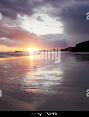 Sunset at Balnakiel Bay, near Durness, Sutherland, Highland, Scotland, UK. - Stock Photo