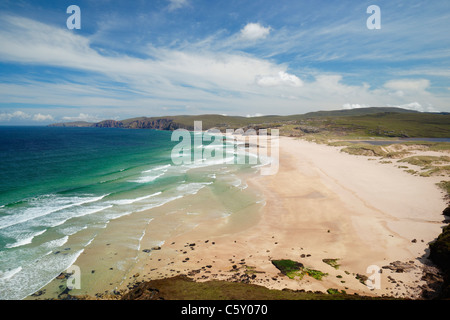 Sandwood Bay, Sutherland, Highland, Scotland, UK. Viewed from the south. - Stock Photo