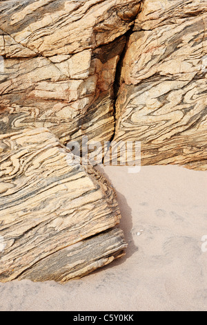 Lewisian Gneiss at Sandwood Bay, Sutherland, Highland, UK - Stock Photo