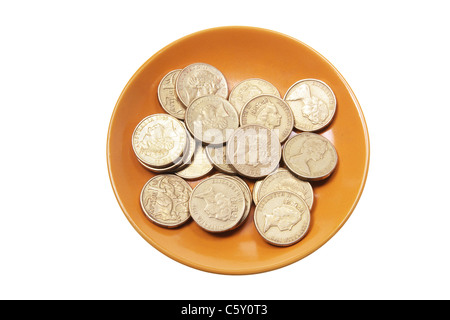Coins on Plate - Stock Photo