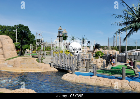 Miniature Golf on Route 28 in Yarmouth, Cape Cod, Massachusetts USA in Summer on a sunny blue sky day - Stock Photo