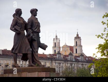 Soviet Statues on the Green Bridge, Vilnius, Lithuania - Stock Photo