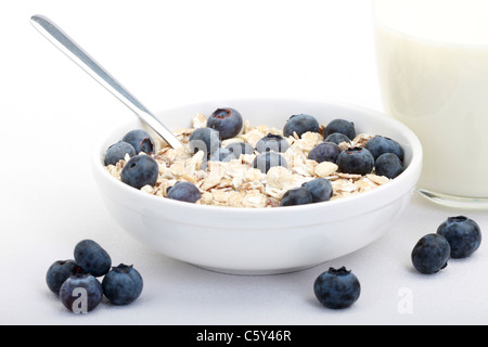 Muesli with blueberries - Stock Photo