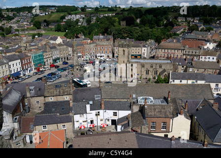 The Market Square in Richmond North Yorkshire from the castle tower - Stock Photo