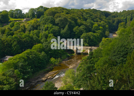 The Grade 2 Listed Green Bridge over the river Swale in Richmond North Yorkshire UK - Stock Photo