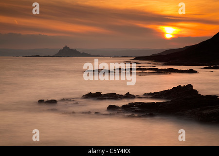 St Michael's Mount from Stackhouse Cove; Cornwall; sunset - Stock Photo