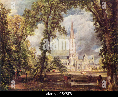 Painting by John Constable; 1776-1837; 'Salisbury Cathedral'; English School; Oil on Canvas; - Stock Photo