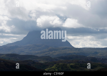 Suilven and dramatic clouds, Assynt, Sutherland, Highland, Scotland, UK - Stock Photo