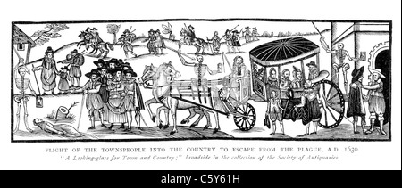 Flight of the Townspeople into the Country to Escape from the Plague, AD 1630; Black and White Illustration; - Stock Photo