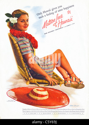 Original 1930s advert in American magazine advertising holiday vacation cruises to Hawaii and the South Seas - Stock Photo