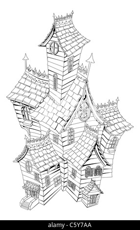 Black and white illustration of a haunted ghost house - Stock Photo
