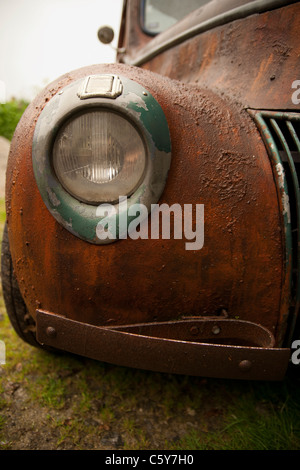 retro american pickup front light and rusty fender - Stock Photo