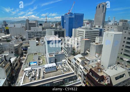 Hiroshima, Japan cityscape from 14 floors up. - Stock Photo