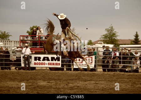 Cowboy Riding Bucking Horse During Rodeo In Oklahoma City