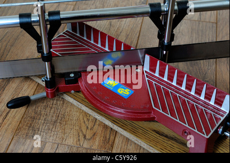 A miter joint wood saw england uk - Stock Photo