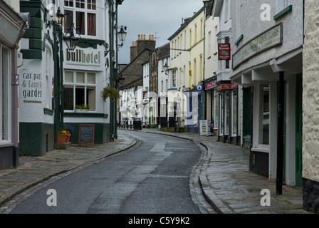 The narrow Main Street of Sedbergh, Cumbria, England UK - Stock Photo