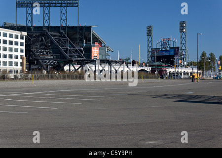 Parking lot by AT&T Park, home of the San Francisco Giants, on the morning of the day they won the 2010 World Series, - Stock Photo