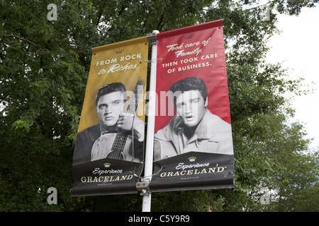 posters and banner adverts for graceland featuring elvis presley memphis tennessee usa - Stock Photo