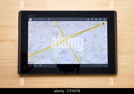 Android tablet, Google Maps - Stock Photo