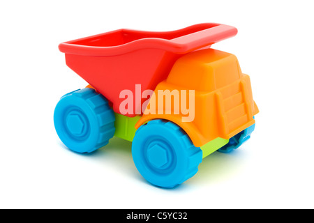 Colorful toy truck isolated on a white - Stock Photo