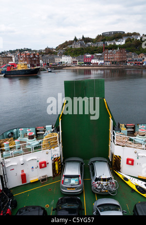 The Caledonian MacBrayne ferry 'MV Clansman' leaving for the island of Barra in the Outer Hebrides. - Stock Photo