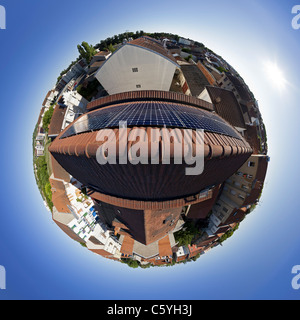 Photovoltaic solar panels on the roof of a private house. Fisheye view 360 °. - Stock Photo