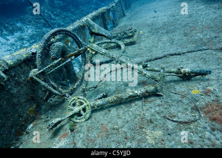 The wreck of the Mr. Bud, a former shrimping boat, scuttled off the island of Roatan, Honduras - Stock Photo