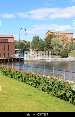 Tammerkoski River at down town Tampere, Finland - Stock Photo