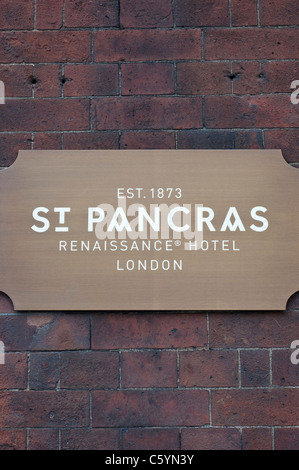 The sign beside the entrance to the St Pancras Renaissance Hotel London (Marriott) adjoined to St Pancras Station, - Stock Photo