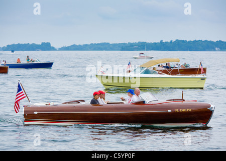 Grand Parade annual antique boat show, oldest in USA, Antique Boat Museum Clayton New York Thousand Islands Region - Stock Photo