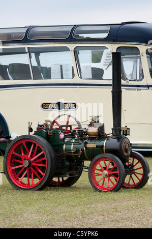 Vintage Miniature  Steam traction engine at a steam fair . Scale model - Stock Photo
