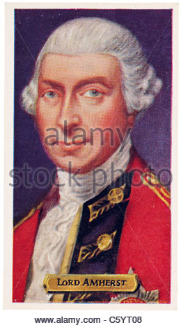 Lord Amherst 1717 to  1797, British Army Officer. EDITORIAL ONLY - Stock Photo