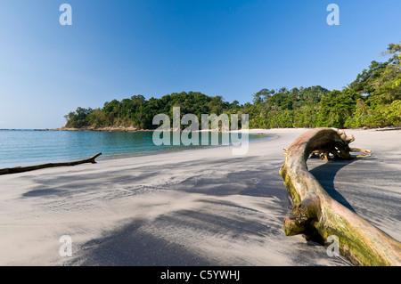 White sand Beach Manuel Antonio National Park Puntarenas Costa Rica - Stock Photo