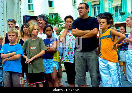 Avignon, France, Group of People Enjoying Street Theatre Events at Avignon Festival - Stock Photo