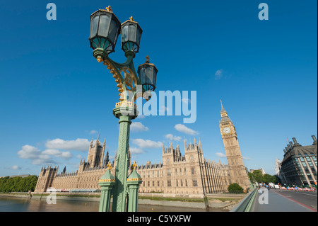 The Houses of Parliament in London, England, UK. Next to Westminster Bridge on the River Thames. - Stock Photo