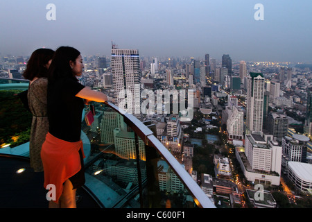 Panoramic view from Scirocco Sky Bar at Lebua State Tower in Bangkok , Thailand - Stock Photo