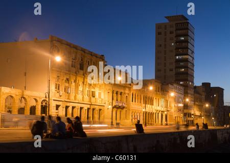 Malecon Promenade at sunset, Havanna Cuba - Stock Photo
