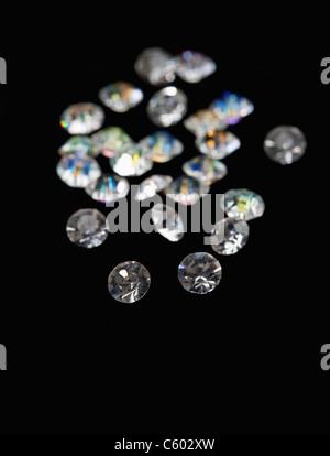 USA, Illinois, Metamora, Diamonds on black velvet - Stock Photo