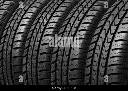 close view of car tires - Stock Photo
