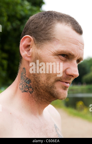 London Parliament Hill , Hampstead Heath , portrait of an angler or fisherman , young man  or male tattoo Matt deceased - Stock Photo