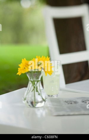 USA, Illinois, Metamora, Yellow flowers in vase and newspaper on table - Stock Photo