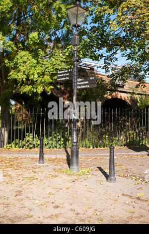 Directional signpost on the Thames Path at Richmond on Thames, Surrey, Uk - Stock Photo