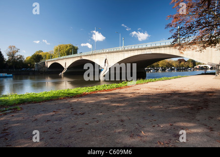 Twickenham Bridge over the River Thames near London, Uk - Stock Photo