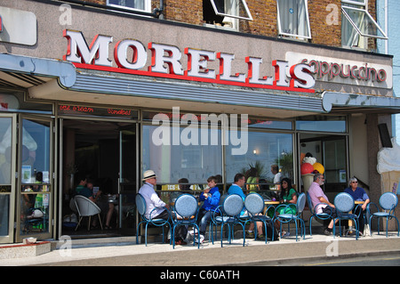 Morelli's Cappuccino Cafe, Victoria Parade, Broadstairs, Isle of Thanet, Kent, England, United Kingdom - Stock Photo